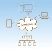 Cartoon zeichnung von cloud computing — Stockvektor