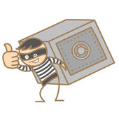 Burglar carrying money box — Stock Vector