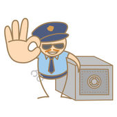 Police man guarding money box — Stock Vector
