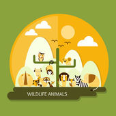 Wildlife animals protection and conservation — Stock Vector
