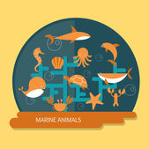 Marine animals protection and conservation — Stock Vector
