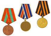 Three medals isolated on white — Foto de Stock