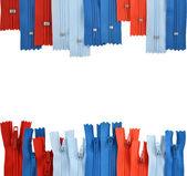 Fondo compuesto de cremalleras para ropa — Foto de Stock