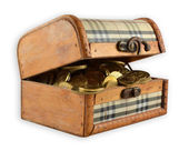 Wooden chest of gold — Stock Photo