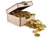 Box with coins — Stock Photo