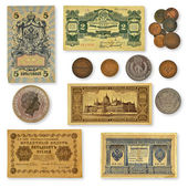 Collection of old banknotes — Stock Photo