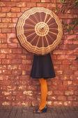 Woman and umbrella — Stock Photo