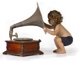 Baby and Gramophone — Stock Photo