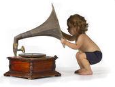 Baby and Gramophone — Stock Photo