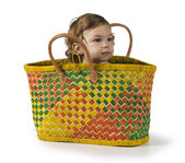 Baby in Basket — Stock Photo