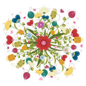Colorful bouquet made of illustrated flowers — Stock Photo