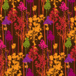 Pattern with colorful trees on brown background — Stock Photo #40984979