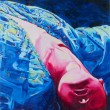 Stock Photo: Acrylic painting of womlie down upside down