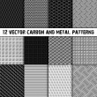 Set of twelve carbon and metal seamless pattern — Stock Photo #41318325