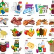 Set of sixty four supermarket vector icons — Stockfoto
