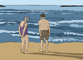 Elderly couple looking at the horizon — Stock Vector