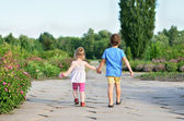 Children walking hand in hand — Stock Photo