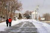 The Central quay of Volgograd in the winter — Stock Photo