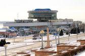 Widok na port rzeki wołgograd zimą — Zdjęcie stockowe