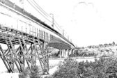 Drawing in pencil. Steel structure of the bridge across the river — Stock Photo