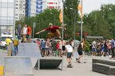 Jump through the skater's corner springboard — Stock Photo