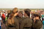 Girls policemen in soldier's uniform of the great Patriotic war — Stock Photo