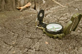 Compass lies on a large tree stump in the forest — Stock Photo