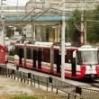 "The high-speed tram at the stop "" Europa city Mol"" . — Stock Photo"
