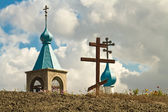 View of the spires of the chapel of the hill on which stands the cross — Stock Photo
