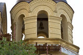 View on the belfry of the under-construction of an Orthodox Church — Stock Photo