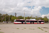 "The high-speed tram at the stop ""Central stadium"" — Stock Photo"