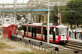 """The high-speed tram at the stop """" Europa city Mol"""" . — Stock Photo"""