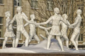 "Reconstructed fountain ""children's dance"" installed on the square in front of the train station. — Stock Photo"