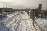 Cleaning snow from the railway tracks Central station — Stock Photo
