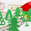 Stock Photo: Toy trees , monetary alley in front of small house