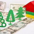Toy trees , monetary alley in front of a small house — Stock Photo #39143167