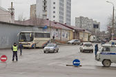 The police limits the movement of the city, organizes audits of a sample of drivers — Stockfoto