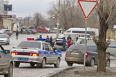 A police car goes in the stream. Active actions of the police after the terrorist attacks in the city — Stock Photo