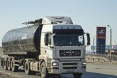 Tank-truck is driving around the city by fuel refills — Foto de Stock