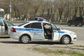 Road patrol service of the new police car — Stock Photo