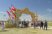 Decorated with the flags of the gate with the words Sabantui - the main entrance to the territory festival — Stock Photo