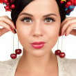 Cherry earrings — Stock Photo