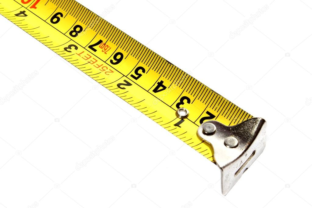 Isolated yellow tape measure with inches and millimeters.  — Stock Photo #12106232