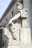 The Worker Statue, Palace of Culture & Science in Warsaw, Poland — Stock Photo