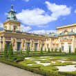 The Palace in Wilanow district in Warsaw, Poland. Wilanów Palace was built for king John III Sobieski in the last quarter of the 17th century and later was enlarged by other owners — Foto de Stock