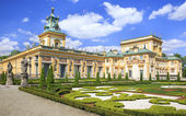 The Palace in Wilanow district in Warsaw, Poland. Wilanów Palace was built for king John III Sobieski in the last quarter of the 17th century and later was enlarged by other owners — Stock Photo