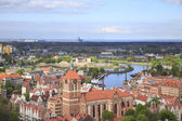 Gdańsk,skyline with old town and ship yard — Foto de Stock