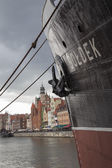 SS Soldek, coal and ore freighter,museum ship moored at Motlawa in Gdansk, opposite the old town — Stock Photo