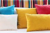 Colorful cushions in sofa. — Stock Photo