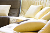 Soft cushion in sofa — Stock Photo